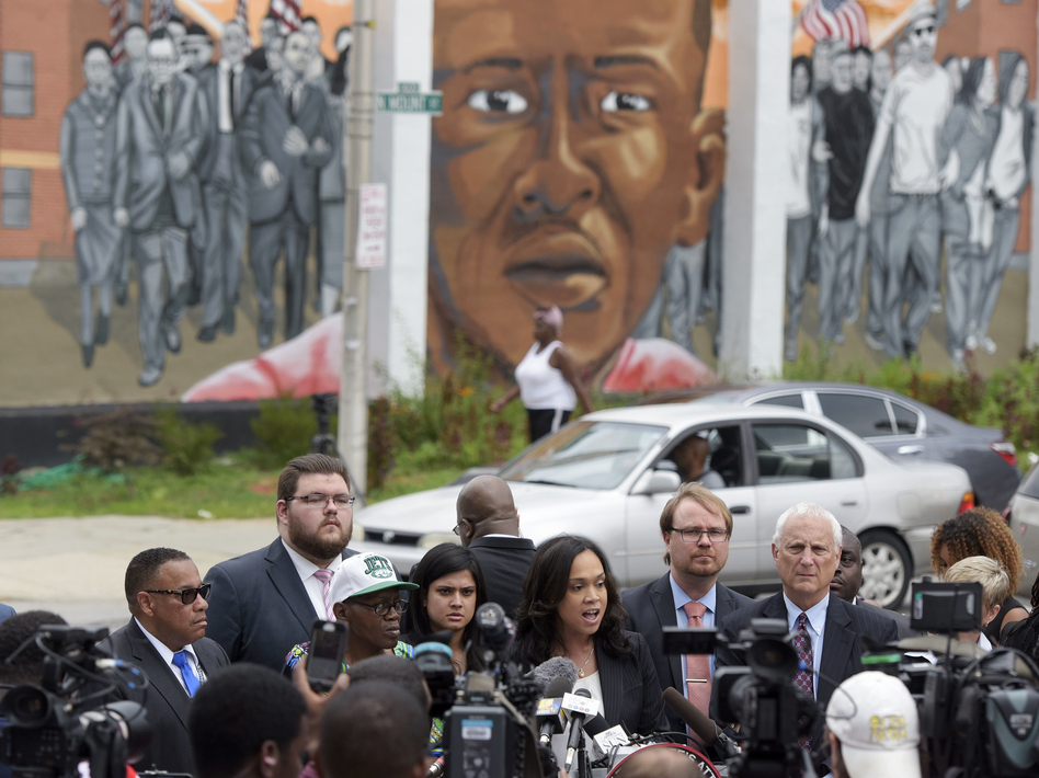 Last month, Marilyn Mosby, Baltimore's chief prosecutor, announced she was dropping the remaining charges against the three Baltimore police officers who were still awaiting trial in Freddie Gray's death in Baltimore. The Gray case set off a wave of protests and unrest in Baltimore. (Steve Ruark/AP)