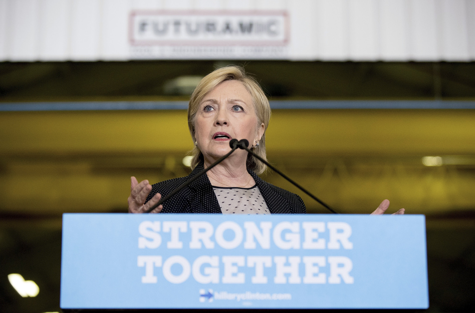 Democratic presidential candidate Hillary Clinton gives a speech today on the economy after touring Futuramic Tool & Engineering, in Warren, Mich. (Andrew Harnik/AP)