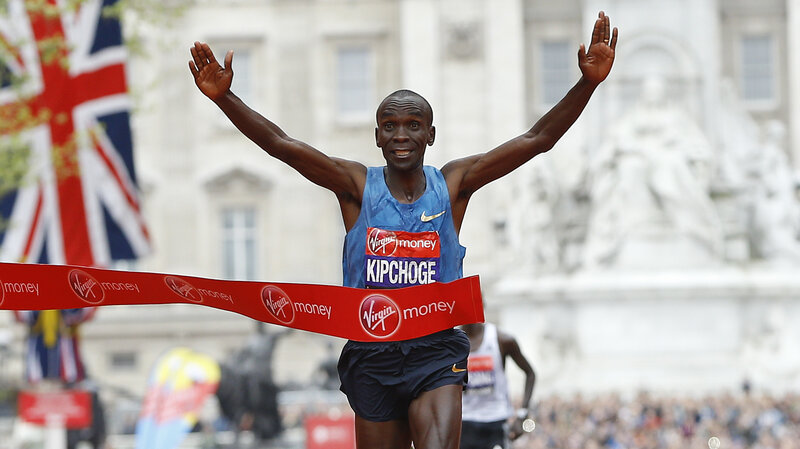 Eliud Kipchoge of Kenya wins the London Marathon last year. He's the favorite in the men's marathon in Rio.