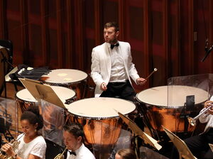 As an instrumental Fellow, Miles Salerni plays timpani with the Tanglewood Music Center Orchestra.