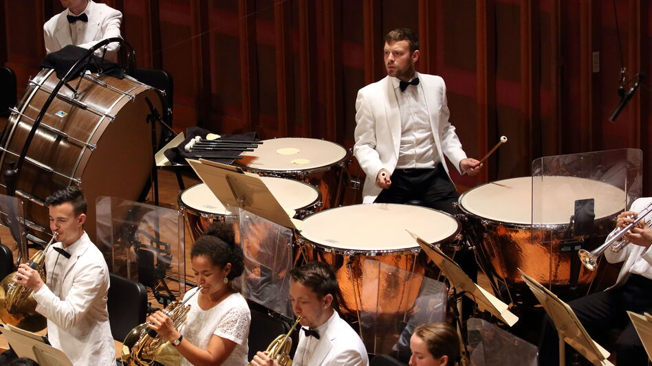As an instrumental Fellow, Miles Salerni plays timpani with the Tanglewood Music Center Orchestra. (Courtesy of the Boston Symphony Orchestra)