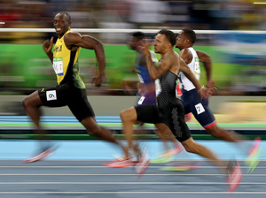 Usain Bolt of Jamaica competes in the men's 100-meter semifinal on Sunday.