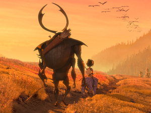 Beetle (Matthew McConaughey), Kubo (Art Parkinson) and Monkey (Charlize Theron) set off on a promising path in the animated adventure Kubo and the Two Strings.