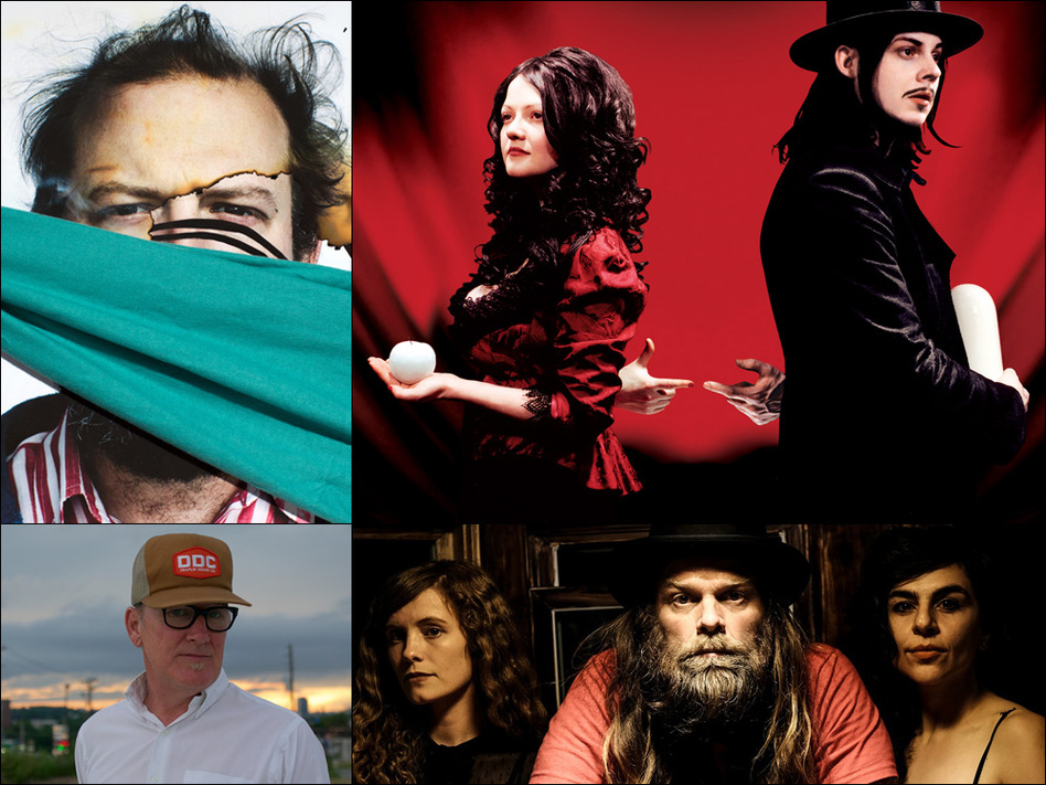 Clockwise from upper left: Bon Iver, the cover art for The White Stripes' <em>Get Behind Me Satan</em>, Thor & Friends, Kurt Wagner of Lambchop.