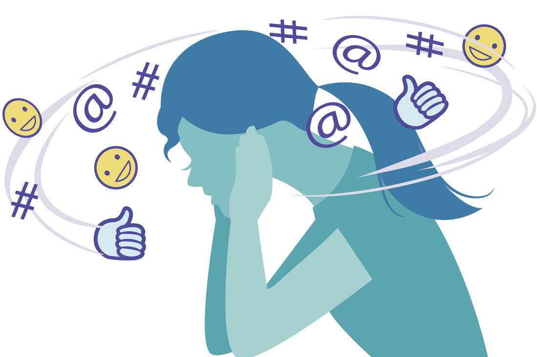 Social media symbols forming noise around woman plugging ears