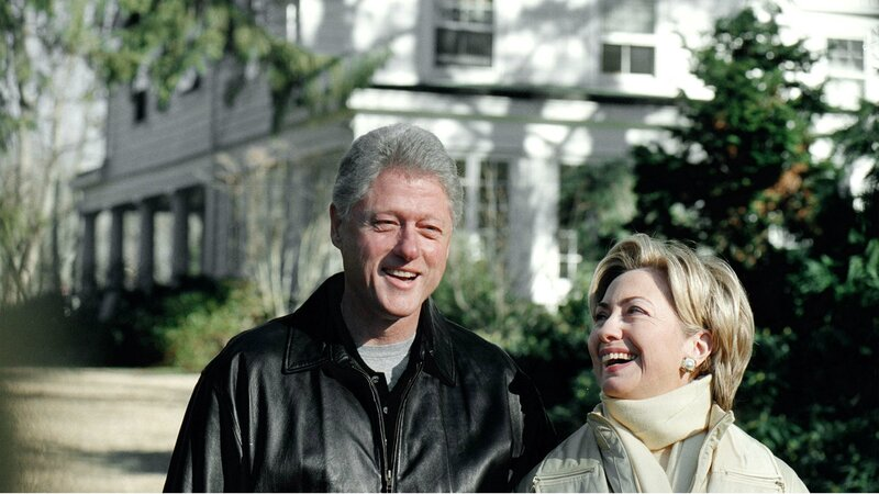 Hillary and Bill Clinton outside their home in Chappaqua, N.Y., in January 2000. The couple paid $1.7 million for the home when they purchased it in 1999.