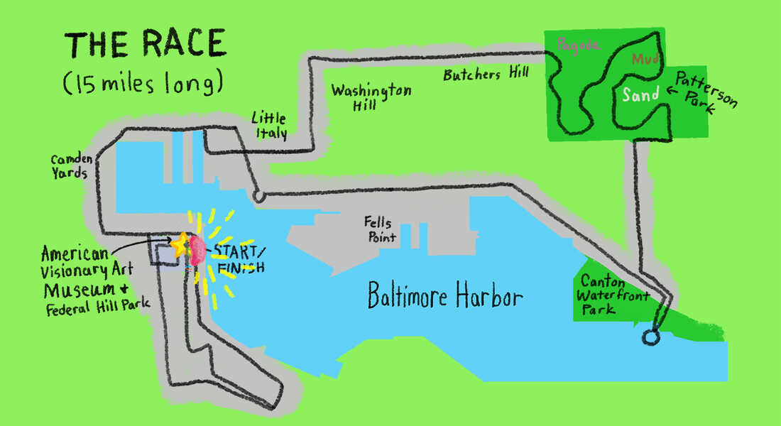 Map of the 15-mile Kinetic Sculpture Race around Baltimore Harbor.