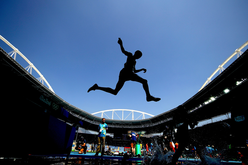 Some athletes soared in Rio, literally or metaphorically, like Kenya's Ezekiel Kemboi in the steeplechase. Others came crashing down, victims of their bad behavior. (Cameron Spencer/Getty Images)