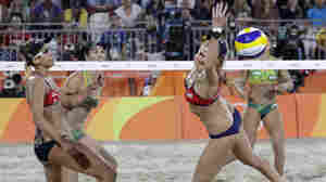 Rio Highlights: Brazilians Upset U.S. In Beach Volleyball; Biles Takes 4th Gold