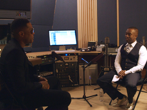 NPR contributor Jason King (right) sits down with R&B star Maxwell in an episode of the documentary series Noteworthy.