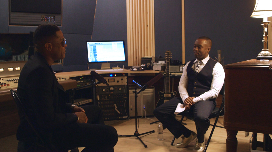 NPR contributor Jason King (right) sits down with R&B star Maxwell in an episode of the documentary series Noteworthy. (NPR)