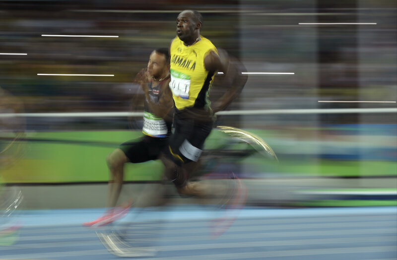 Jamaica's Usain Bolt competes in the men's 200-meter semifinal at the Olympic stadium in Rio de Janeiro.