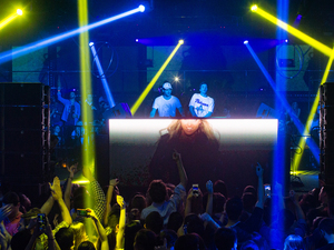 The Chainsmokers' Alex Pall and Andrew Taggart, seen here performing in Hollywood this past February, have two Top 10 hits on their hands, thanks in large part to their guest vocalists.