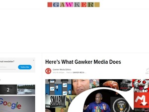 A screenshot of Gawker.com's homepage.