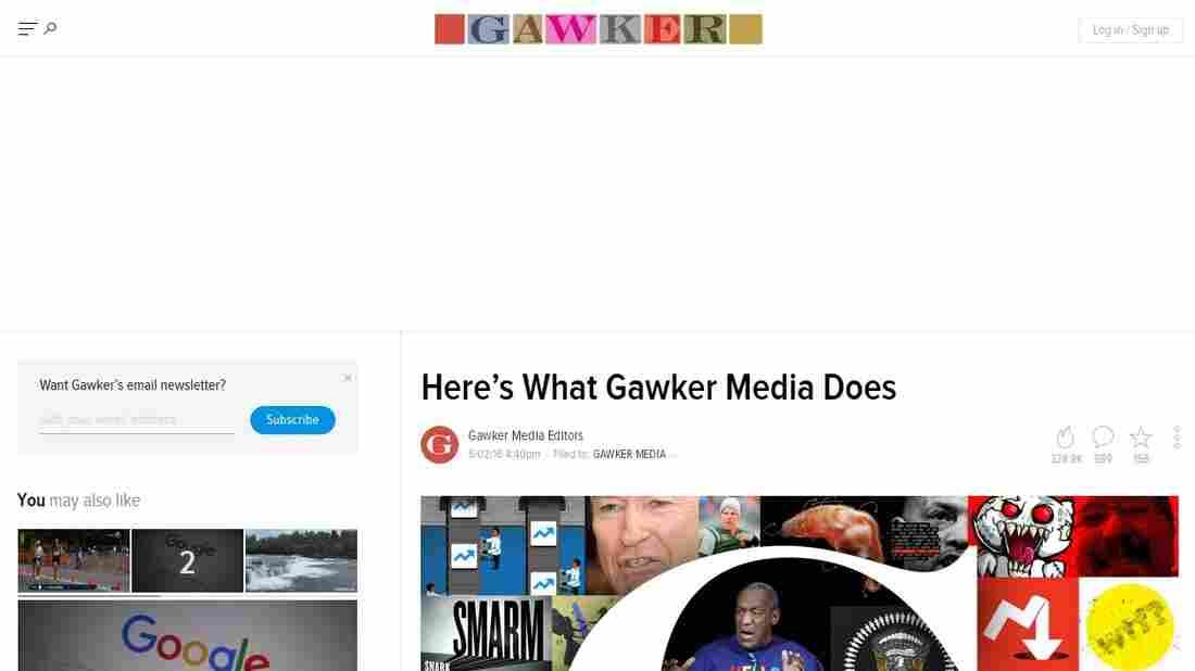 A screenshot of Gawker.com's homepage.