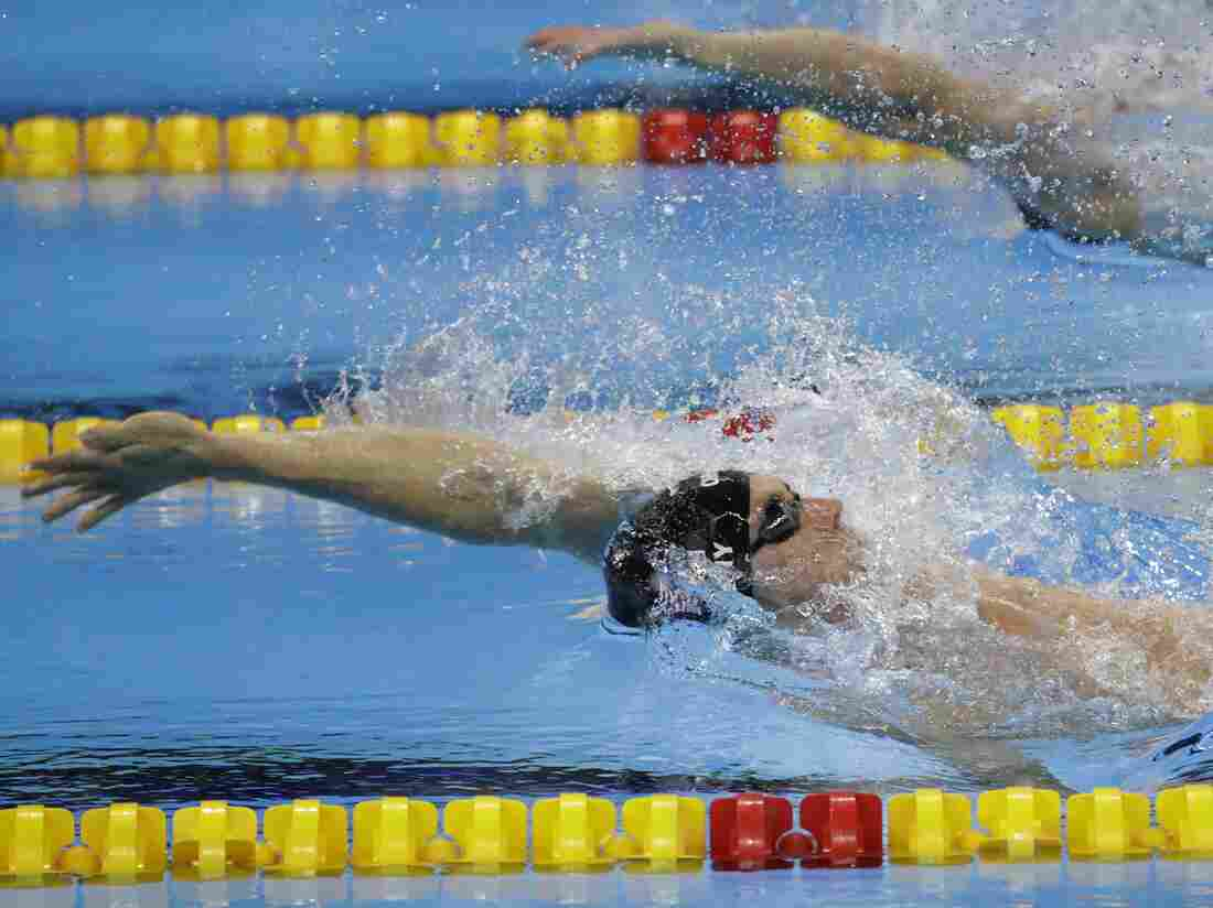 Ryan Murphy swims backstroke in the men's 4x100-meter medley relay final during the swimming competitions at the 2016 Summer Olympics in Rio on Aug. 13.