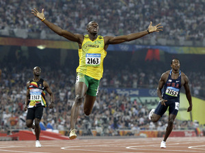 Jamaica's Usain Bolt crosses the finish line to win the gold in the men's 200-meter final during the 2008 Summer Olympics in Beijing.