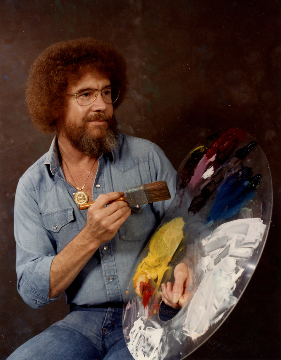In the 1980s and 1990s, Ross was a fixture on PBS.<em> The Joy of Painting</em> invited viewers to watch over Ross' shoulder as he created small masterpieces in under 30 minutes. (Bob Ross Inc.)