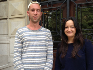 Ian Bradley-Perrin (left) and fellow graduate student Olga Brudastova have been active in the campaign to unionize grad students who work as teaching and research assistants at Columbia University.