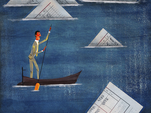 Man in rowing boat with paper floating in water.