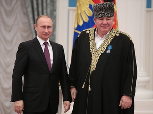 "Mufti Ismail Berdiev (right) is a religious leader in the Republic of Dagestan. When a report documented female genital mutilation in this republic, he said all women should be circumcised ""to end depravity."" He later said he was joking. Above, he poses with Russian President Vladimir Putin at a Kremlin ceremony in March."