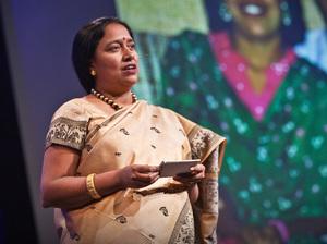 Lakshmi Pratury on the TED stage.