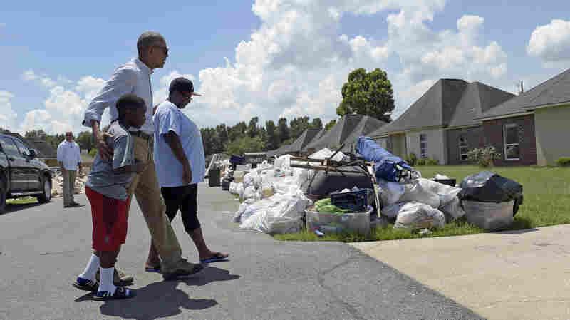 President Obama Tours Flood Destruction In Louisiana