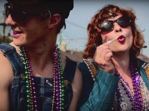 "Shovels and Rope in a still from the video for ""St. Anne's Parade."""