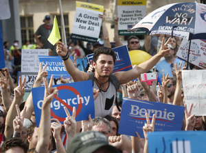 Supporters of Sen. Bernie Sanders cheer during a protest near City Hall in Philadelphia during the Democratic National Convention in July.