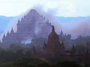 The ancient Sulamuni temple is surrounded by a cloud of dust as a magnitude-6.8 earthquake hit Bagan, Myanmar, on Wednesday.