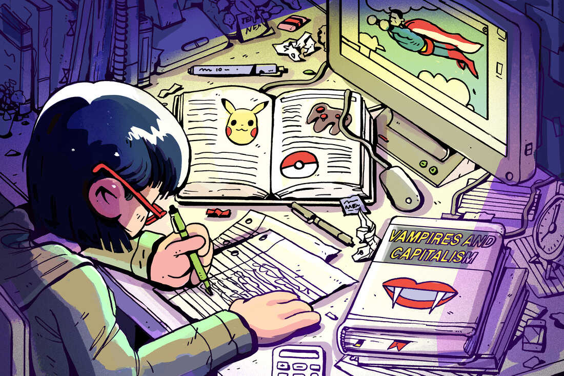 Illustration of a student studying