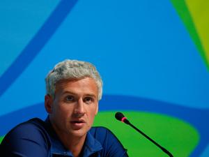 U.S. swimmer Ryan Lochte attends a press conference on Aug. 12 in Rio de Janeiro.