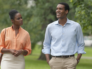 "This image released by Roadside Attractions shows Tika Sumpter (L) and Parker Sawyers in a scene from ""Southside With You."""