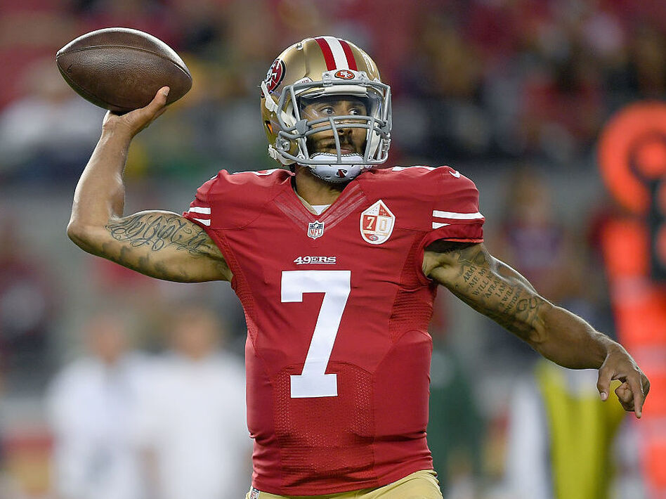 Quarterback Colin Kaepernick of the San Francisco 49ers throws a pass against the Green Bay Packers in the first half of their preseason football game on Friday in Santa Clara, California. (Thearon W. Henderson/Getty Images)