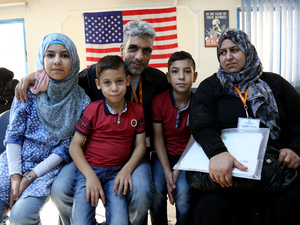 Five members of the Jouriyeh family, who are Syrian refugees headed to the U.S. from Jordan this week as part of a resettlement program.