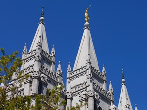 The spires of the Church of Jesus Christ of Latter-day Saints' historic Salt Lake Temple on April 2 in Salt Lake City, Utah.