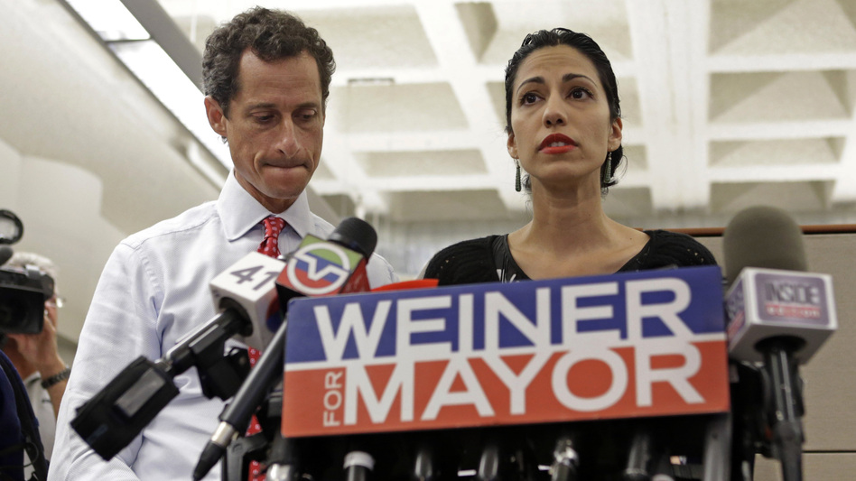 Anthony Weiner (left) and Huma Abedin at a news conference in 2013 during Weiner's mayoral campaign. (Kathy Willens/AP)