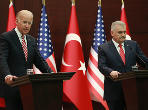 U.S. Vice President Joe Biden and Turkish Prime Minister Binali Yildirim hold a news conference after meeting Aug. 24 in Ankara, Turkey. While the U.S. and Turkey are close allies, they've been at odds on a number of issues, and the meeting was designed to improve the atmosphere.