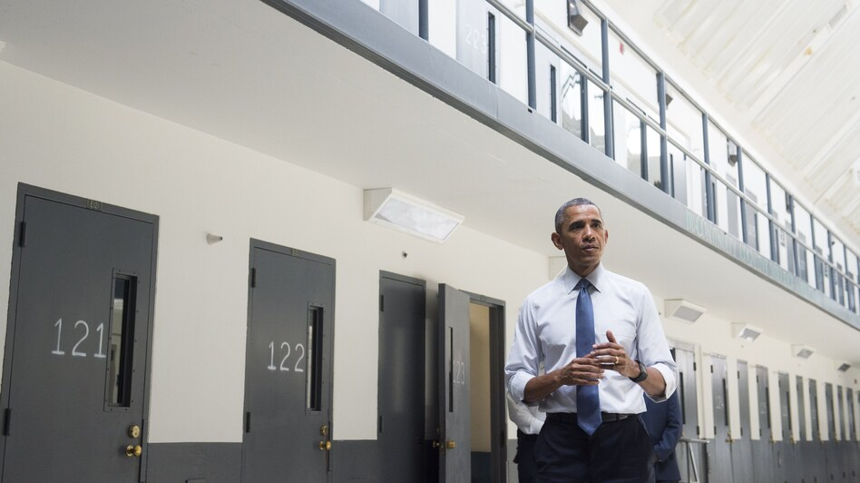 President Obama toured the El Reno Federal Correctional Institution in Oklahoma last year, the first sitting U.S. president to visit a federal prison. (Saul Loeb/AFP/Getty Images)