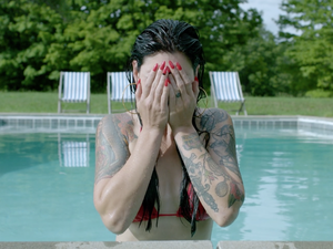 "A scene from a Sleigh Bells video for the song ""It's Just Us Now."""