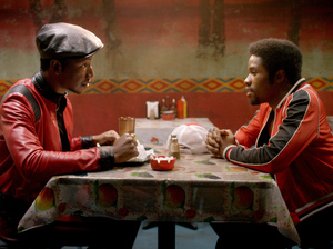 Mamoudou Athie and Shameik Moore in a scene from The Get Down.