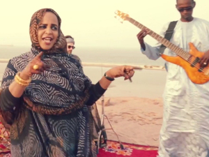 "A scene from Noura Mint Seymali's video for ""Na Sane."""