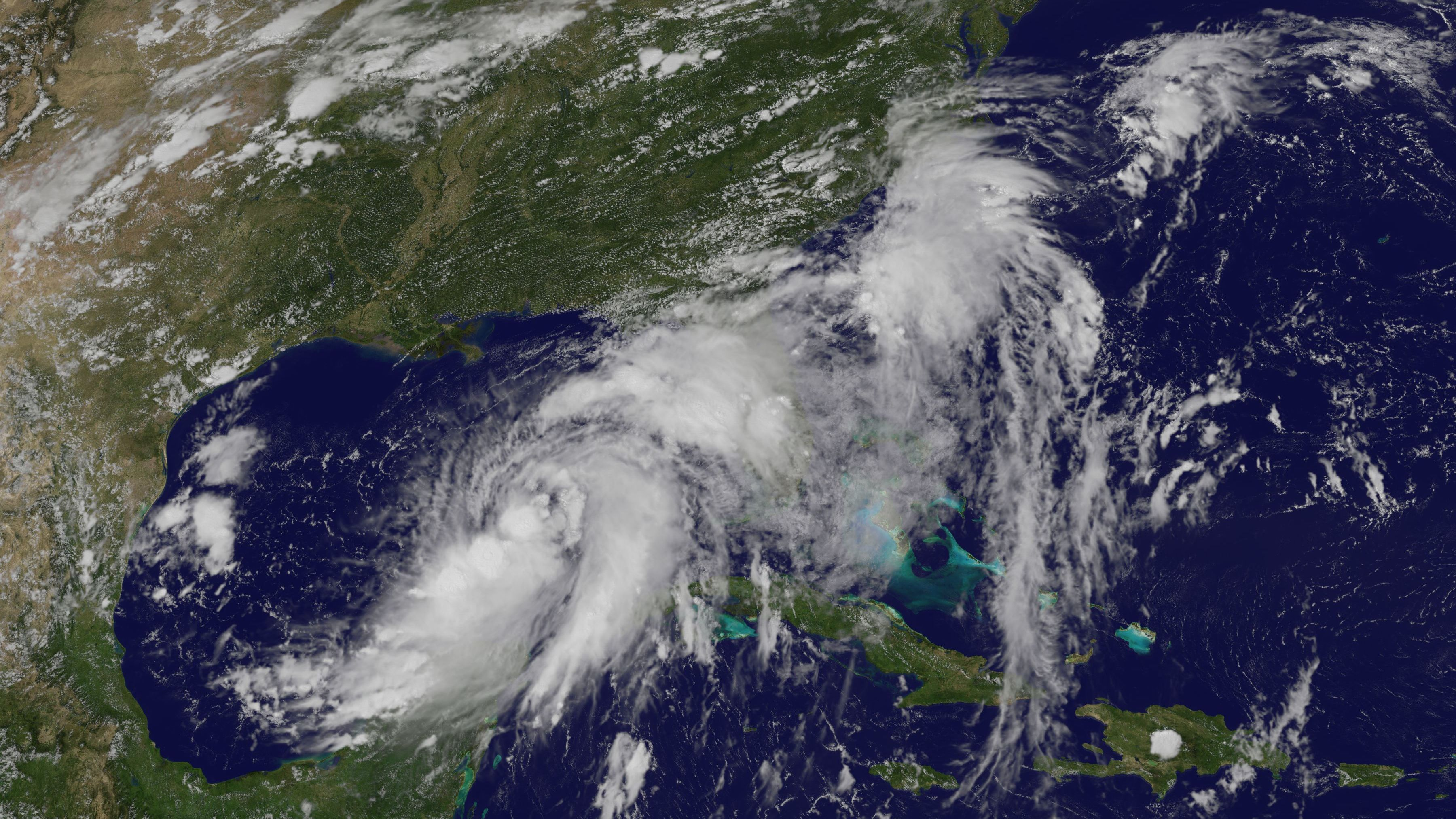 A satellite image shows Tropical Storm Hermine forming in the Gulf of Mexico on Wednesday. The storm is expected to make landfall north of Tampa late Thursday night or early Friday morning, the National Hurricane Center says.