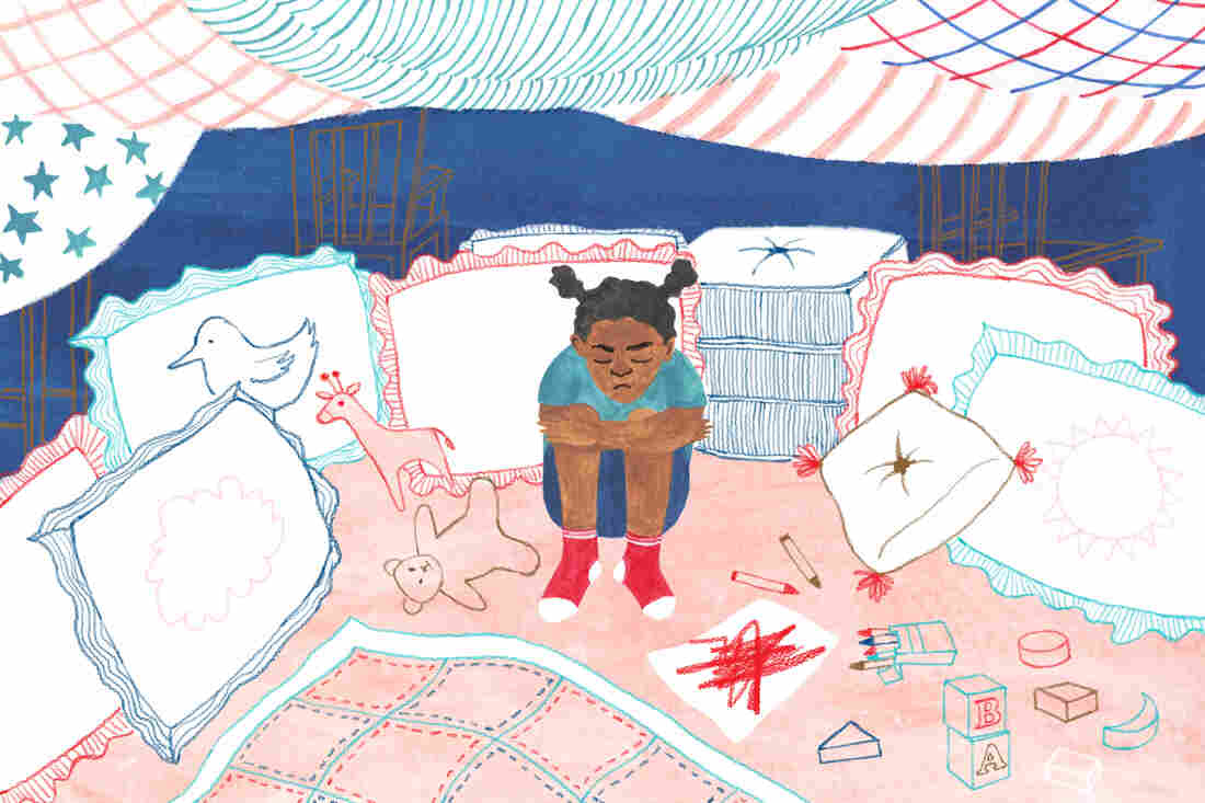 Illustration of a little girl sitting in a cozy fort.