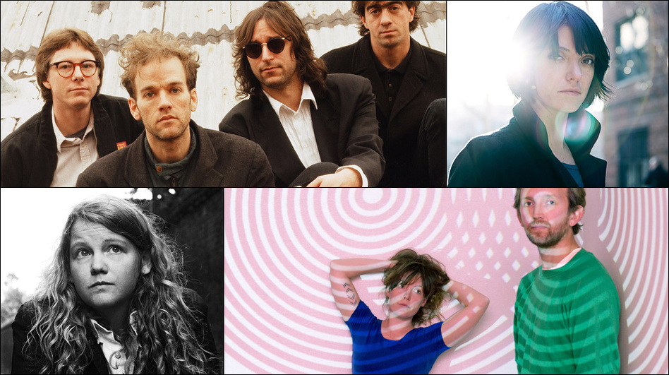 Clockwise from upper left: R.E.M. in 1991, Sharon Van Etten, Sylvan Esso, Kate Tempest (Courtesy of the artists)