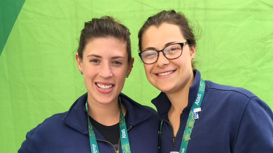 "Fencer Kelley Hurley (left) with teammate Kat Holmes at the Olympics in Rio in August. ""You feel a little empty"" after the games, says Hurley, expressing a sentiment felt by many athletes who prepared for years. (Melissa Block/NPR)"