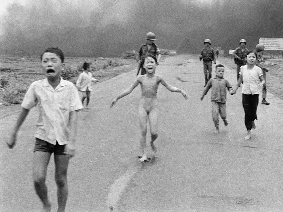 This is a June 8, 1972, file photo of South Vietnamese forces following after terrified children, including 9-year-old Kim Phuc (center). The Pulitzer Prize-winning image is at the center of a heated debate about freedom of speech in Norway after Facebook deleted it from a Norwegian author's page. (Nick Ut/AP)