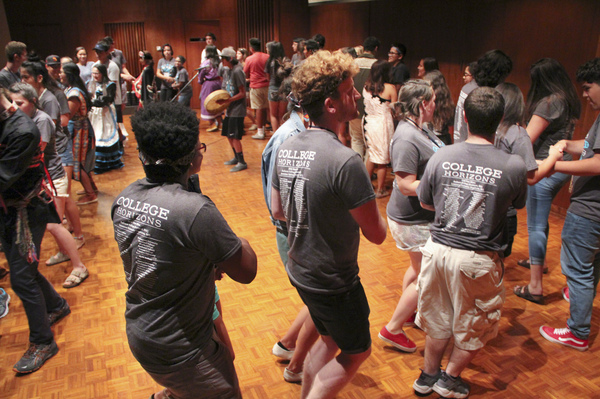 Native American teenagers participate in a drum circle dance during the College Horizons summer retreat for prospective students at Lawrence University in Appleton, Wi.
