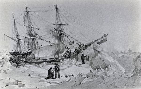 A depiction of the HMS Terror, commanded by the British admiral George Back (1796-1878), trapped in the ice.