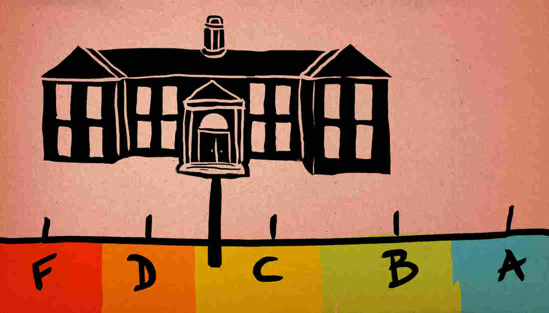 Illustration of a college ranking on a grade system scale of F to A.